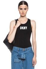 x DKNY Racerback Logo Cotton-Blend Bodysuit