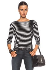Striped Boat Neck Cotton Tee