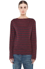 Striped Long Sleeve Boat Neck Tee