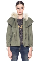 Cropped Cape Cotton Jacket with Fur