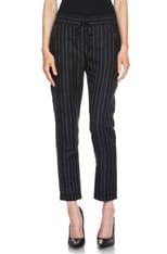 Taylor Pinstripe Drawstring Wool-Blend Trousers