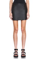 Lambskin Leather A-Line Skirt
