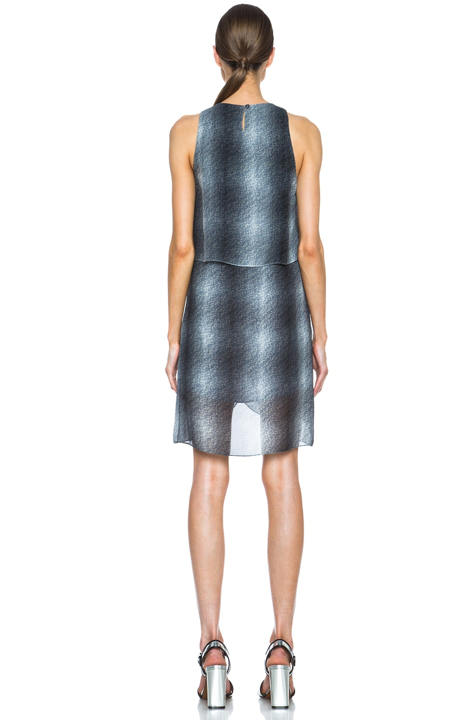 Image 4 of DEREK LAM 10 CROSBY Draped Front Silk Dress in Charcoal