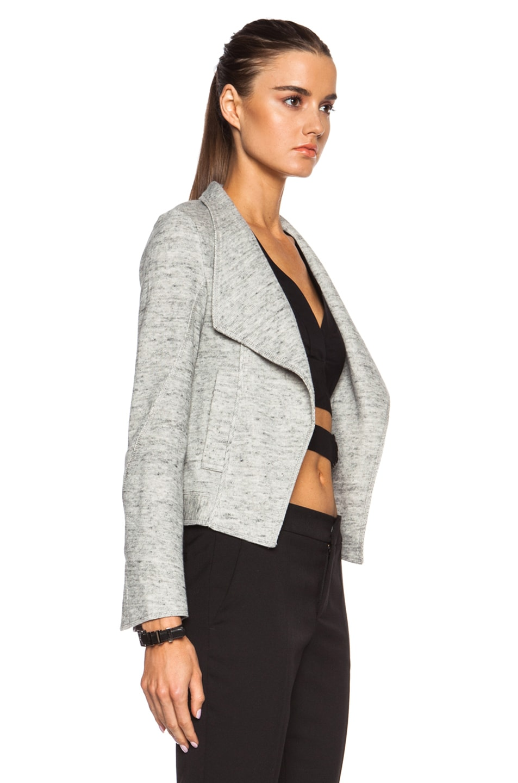 Image 3 of DEREK LAM 10 CROSBY Angled Lapel Cotton Jacket in Grey