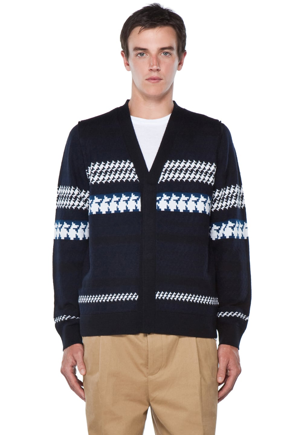 Image 1 of 3.1 phillip lim Jacquard Pattern Cardigan in Navy