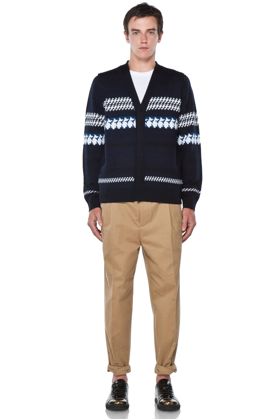 Image 8 of 3.1 phillip lim Jacquard Pattern Cardigan in Navy