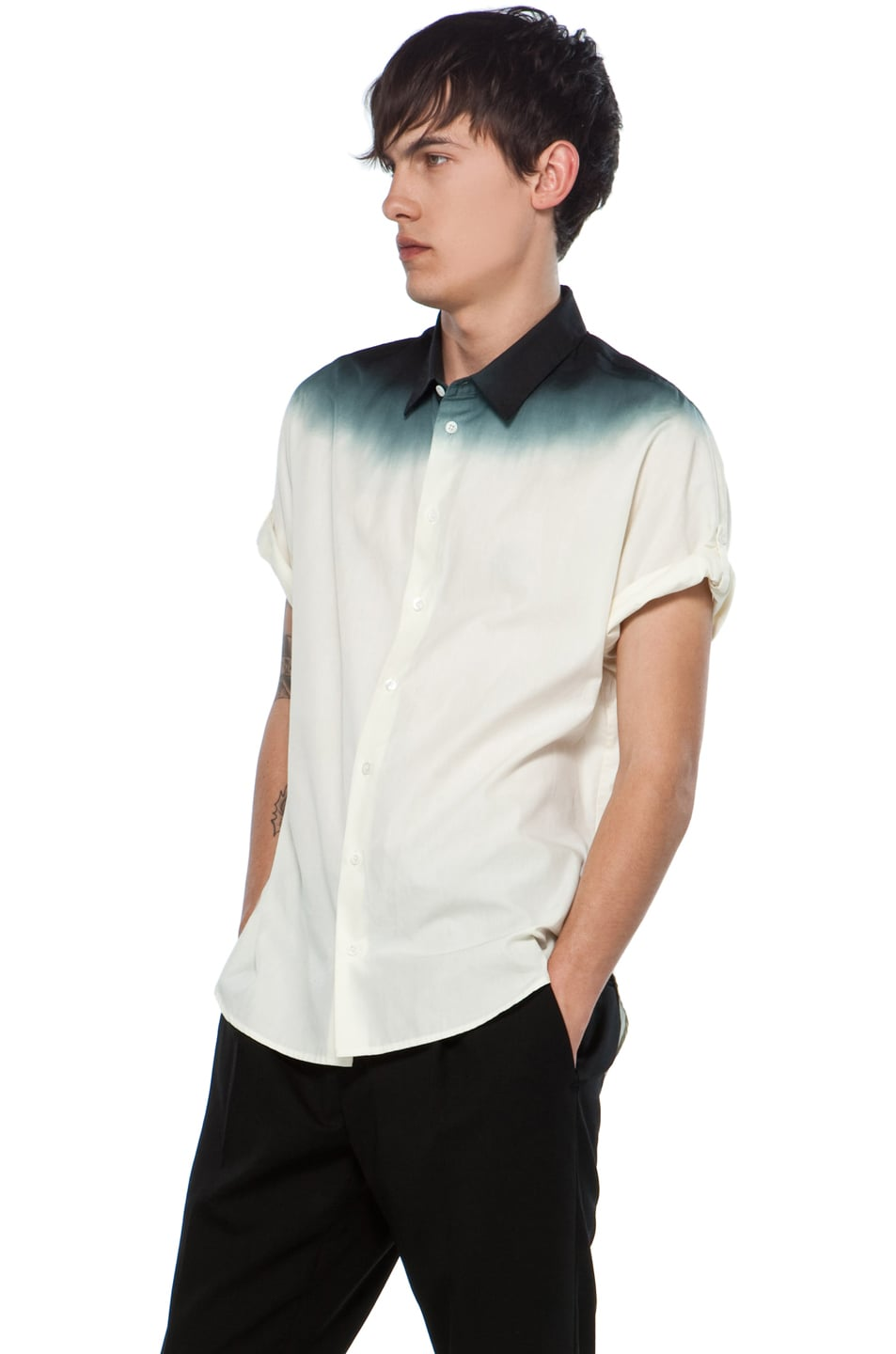 Image 2 of 3.1 phillip lim Dolman Button Up with Dip Dye Gradient in Ivory/Soft Black