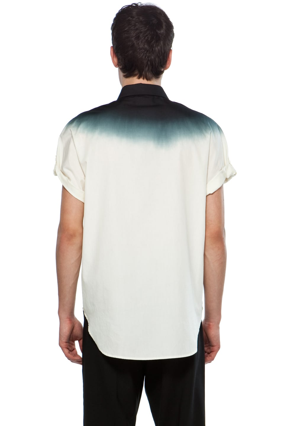 Image 4 of 3.1 phillip lim Dolman Button Up with Dip Dye Gradient in Ivory/Soft Black