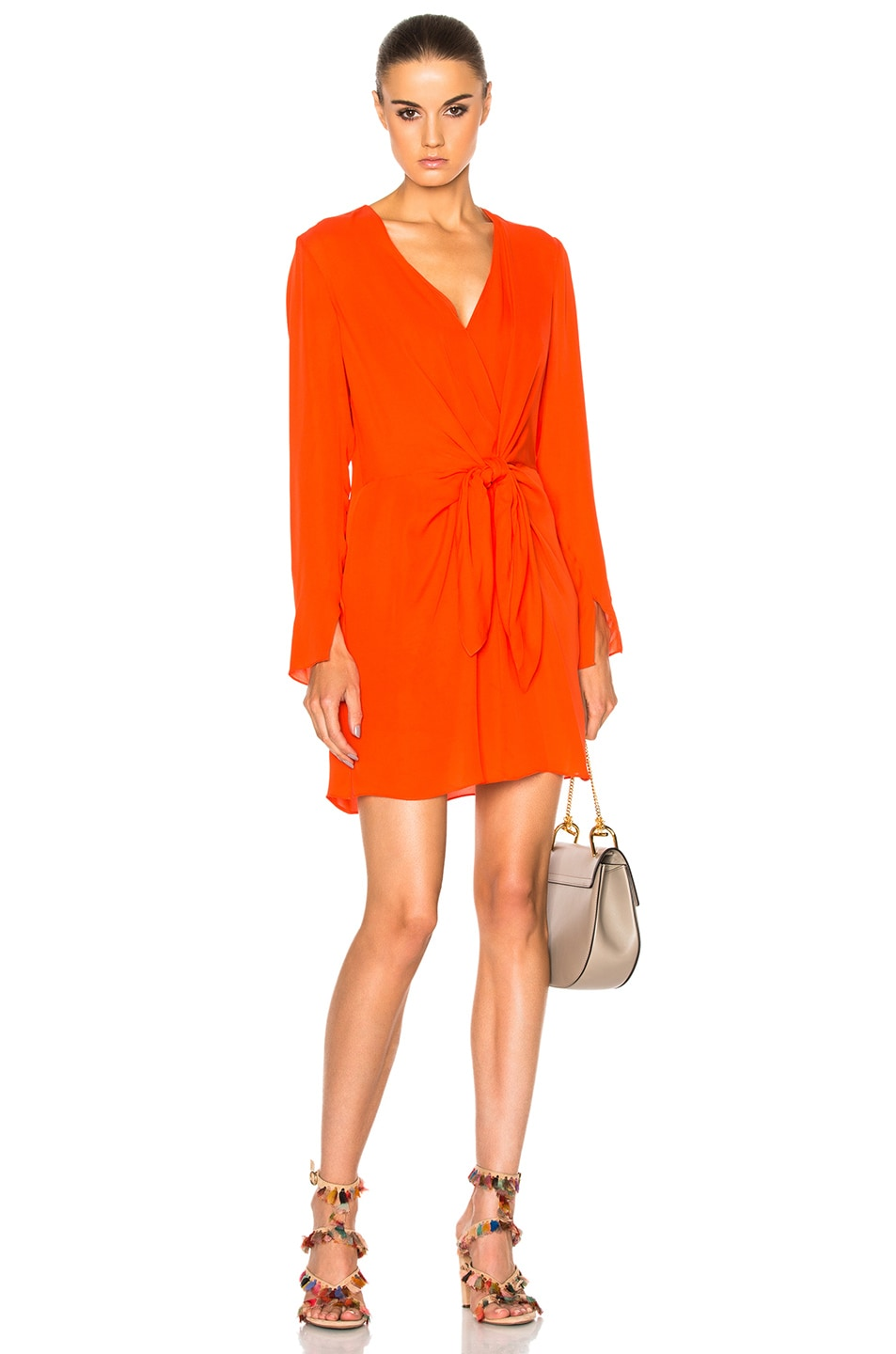 3.1 Phillip Lim Silks LONG SLEEVE FRONT KNOT DRESS IN RED.