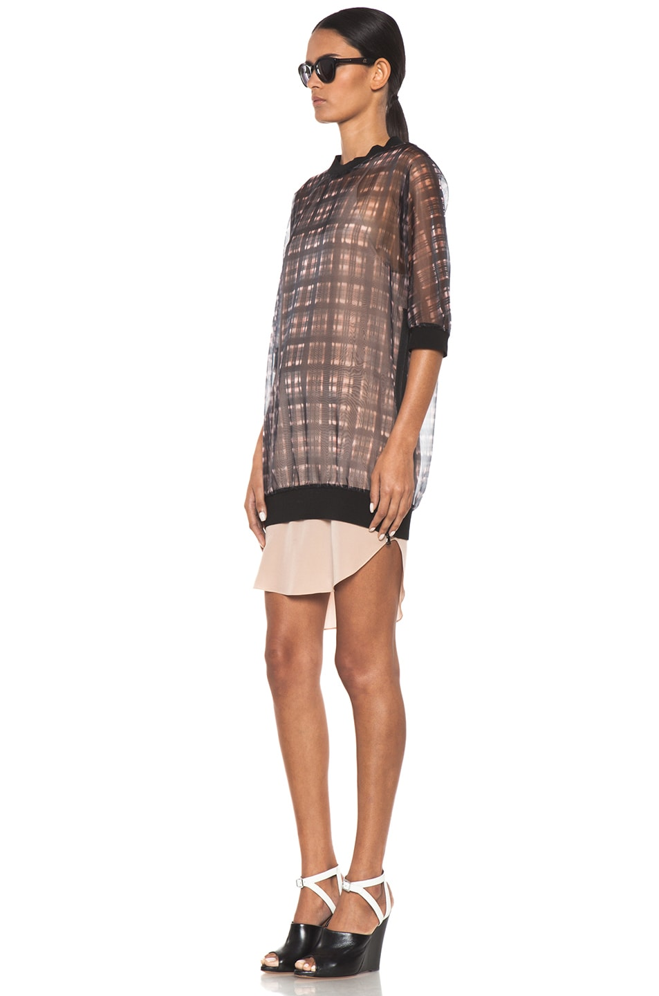 Image 2 of 3.1 phillip lim Digital Napped Plaid Combo Trompl'oeil Sweater Dress with Side Zips in Pink