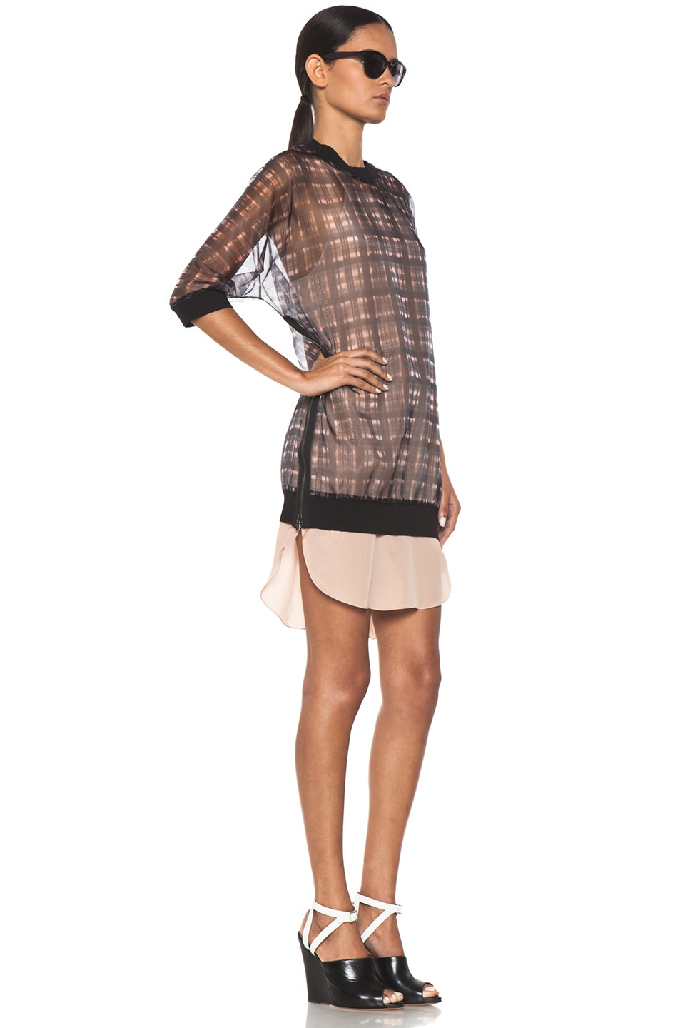 Image 3 of 3.1 phillip lim Digital Napped Plaid Combo Trompl'oeil Sweater Dress with Side Zips in Pink