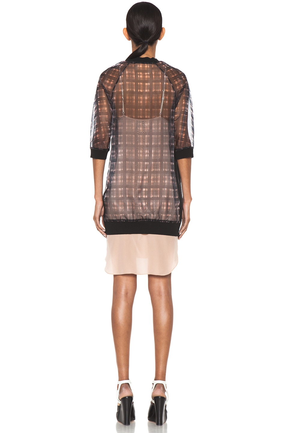 Image 4 of 3.1 phillip lim Digital Napped Plaid Combo Trompl'oeil Sweater Dress with Side Zips in Pink