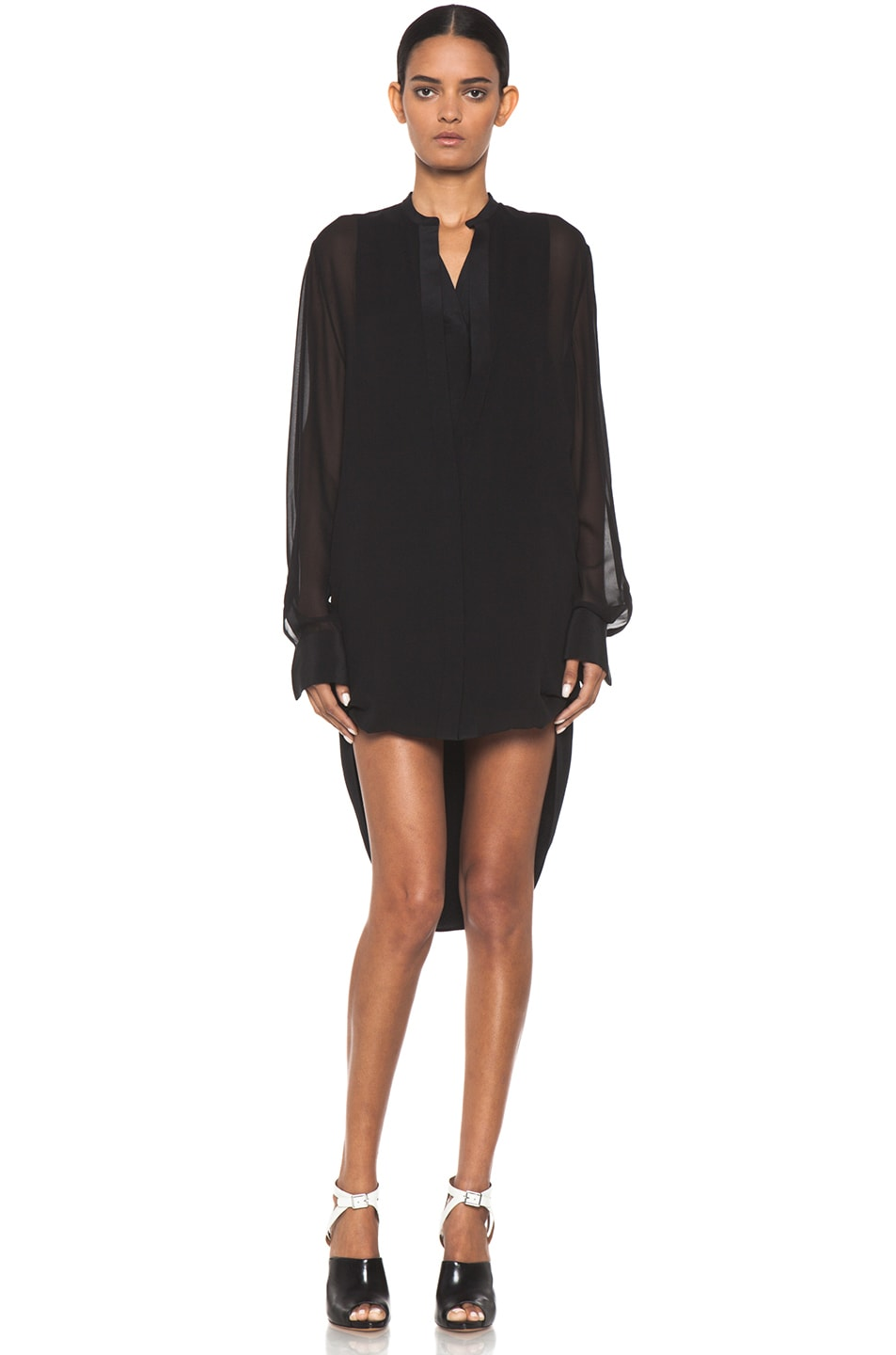 Image 1 of 3.1 phillip lim Silk Loop Hem Layered Shirt Dress in Black