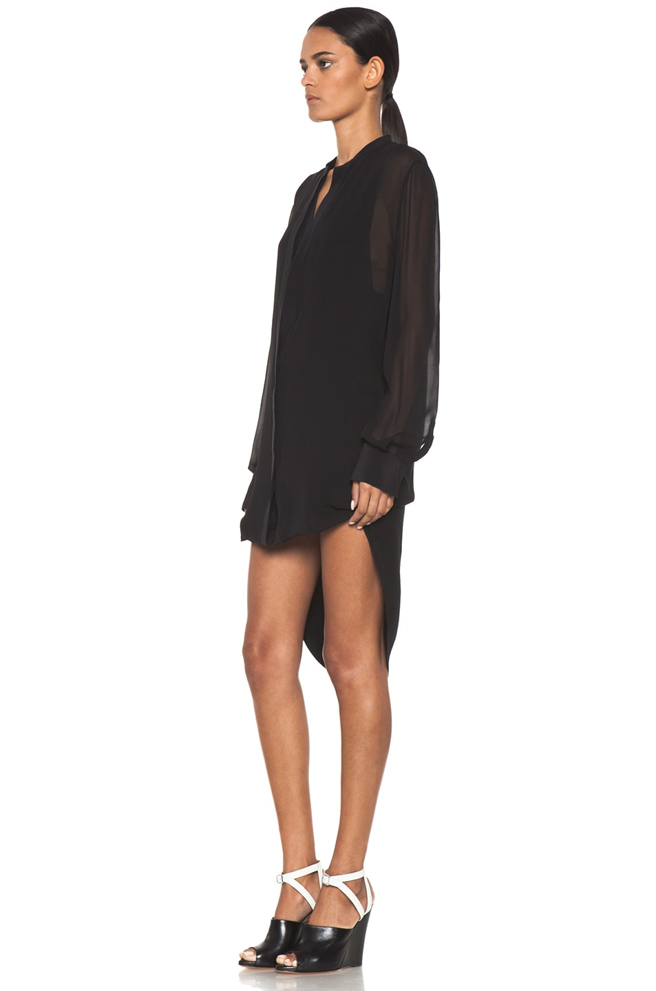 Image 2 of 3.1 phillip lim Silk Loop Hem Layered Shirt Dress in Black