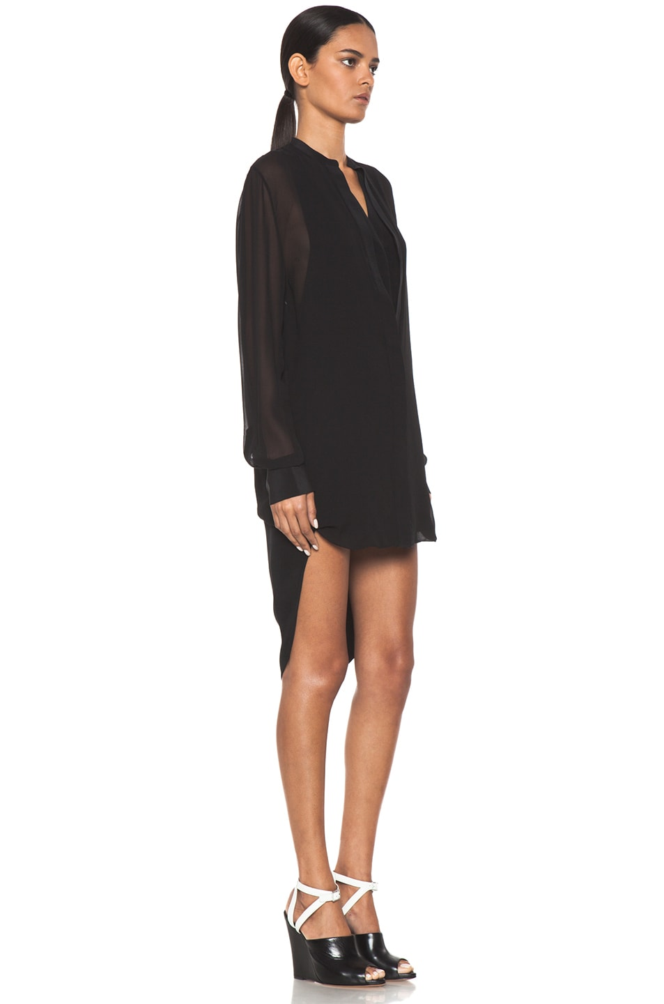 Image 3 of 3.1 phillip lim Silk Loop Hem Layered Shirt Dress in Black