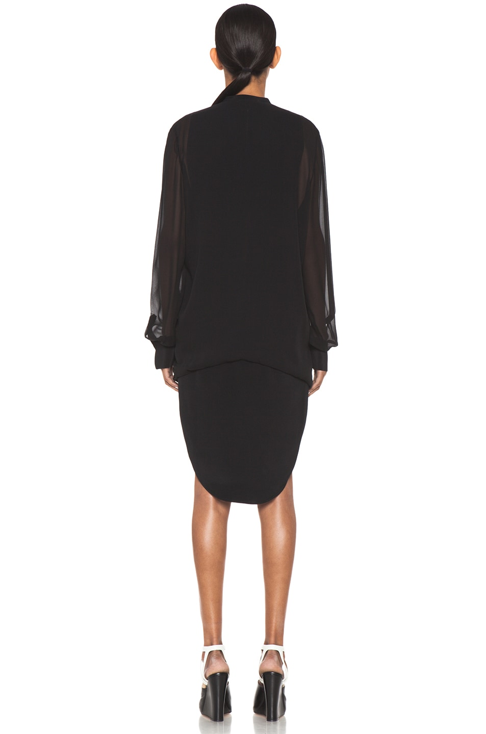 Image 4 of 3.1 phillip lim Silk Loop Hem Layered Shirt Dress in Black