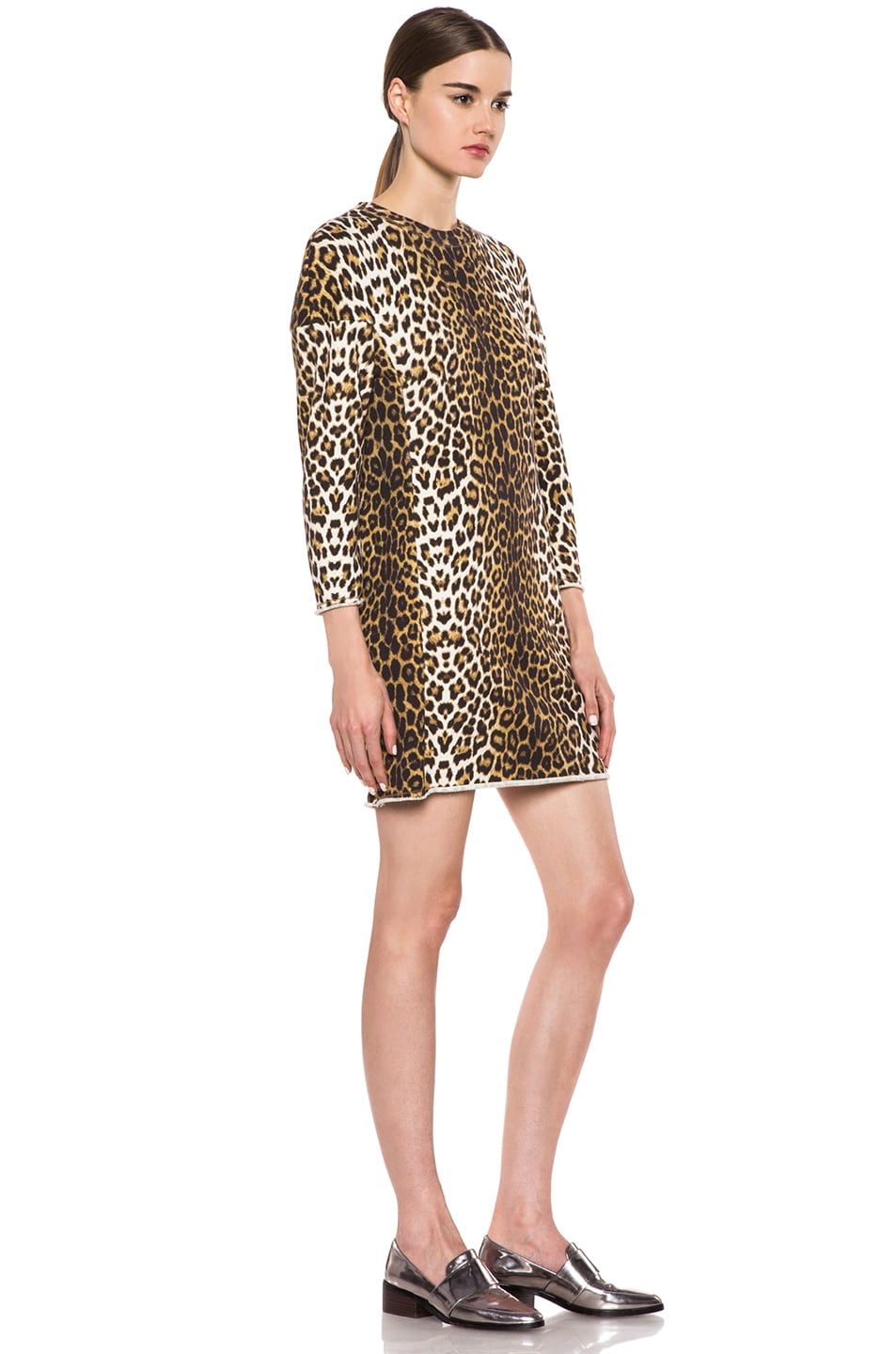 Image 3 of 3.1 phillip lim Rounded Shoulders Sculpted Cotton Dress in Leopard