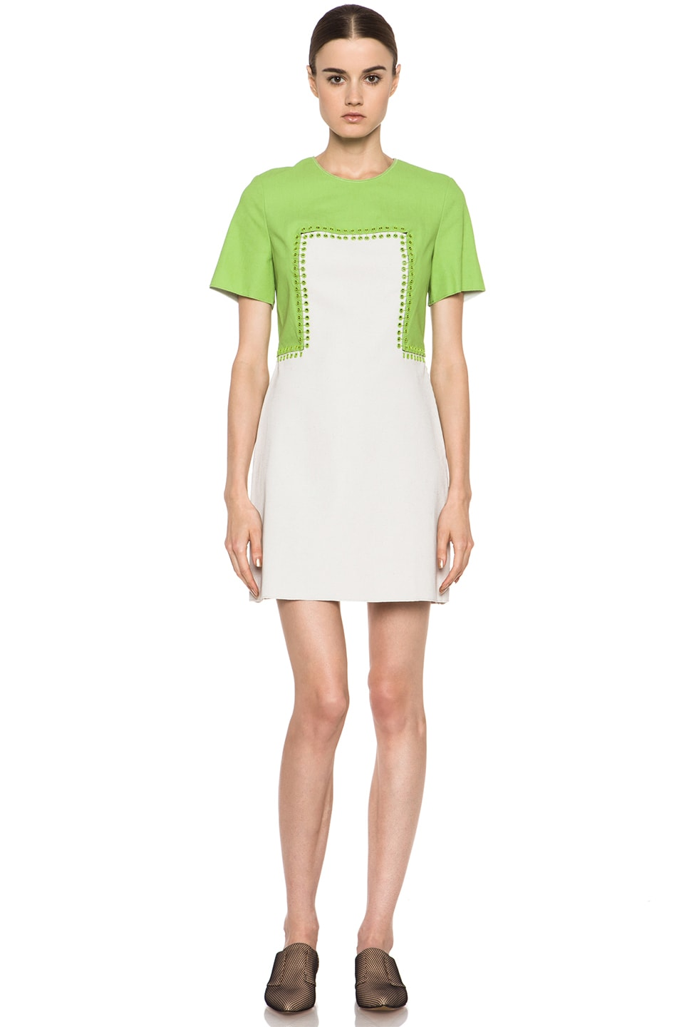 Image 1 of 3.1 phillip lim Shift Dress with Pin and Eyelet Embellishment in Avocado & Canvas
