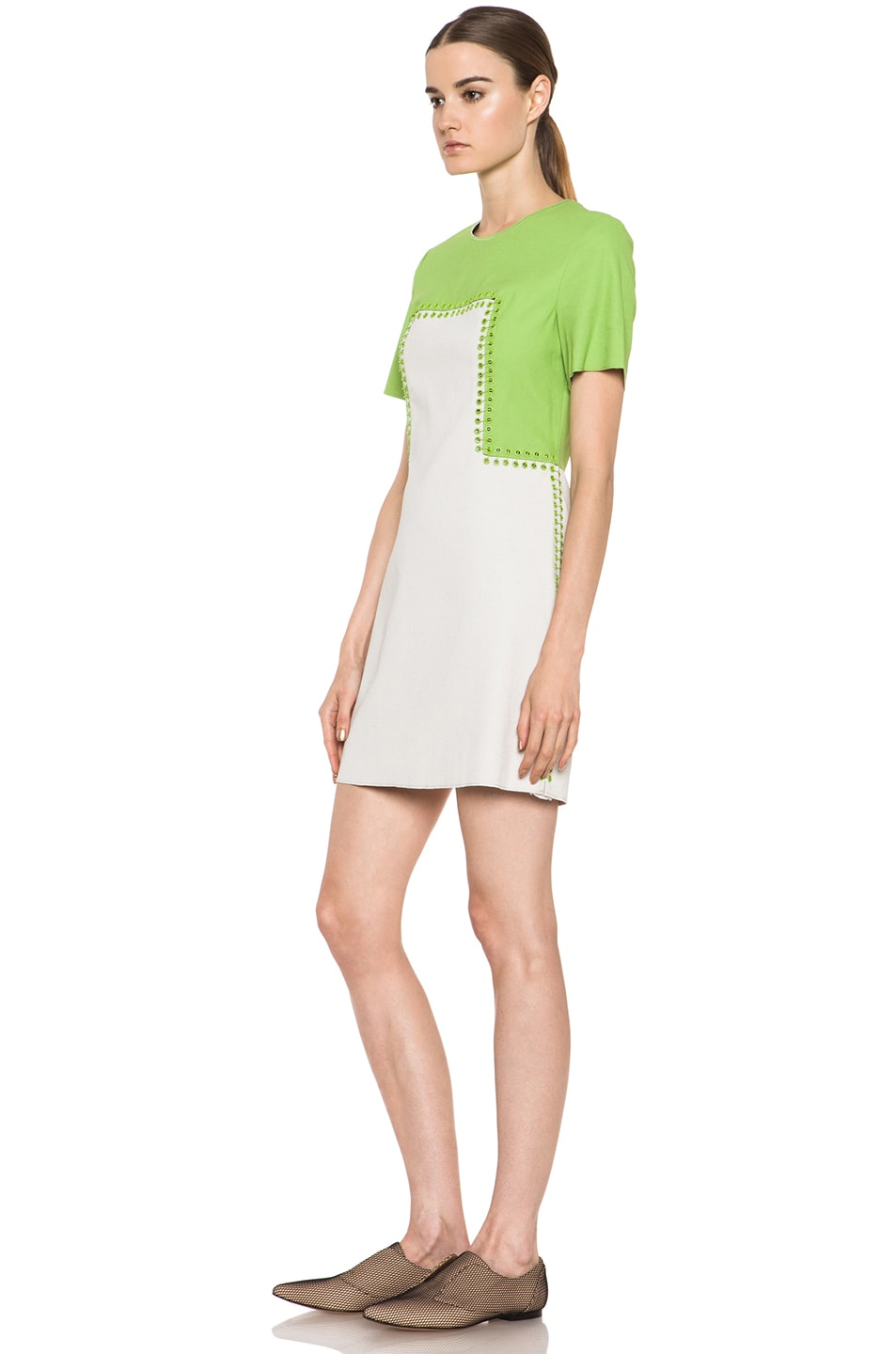Image 2 of 3.1 phillip lim Shift Dress with Pin and Eyelet Embellishment in Avocado & Canvas