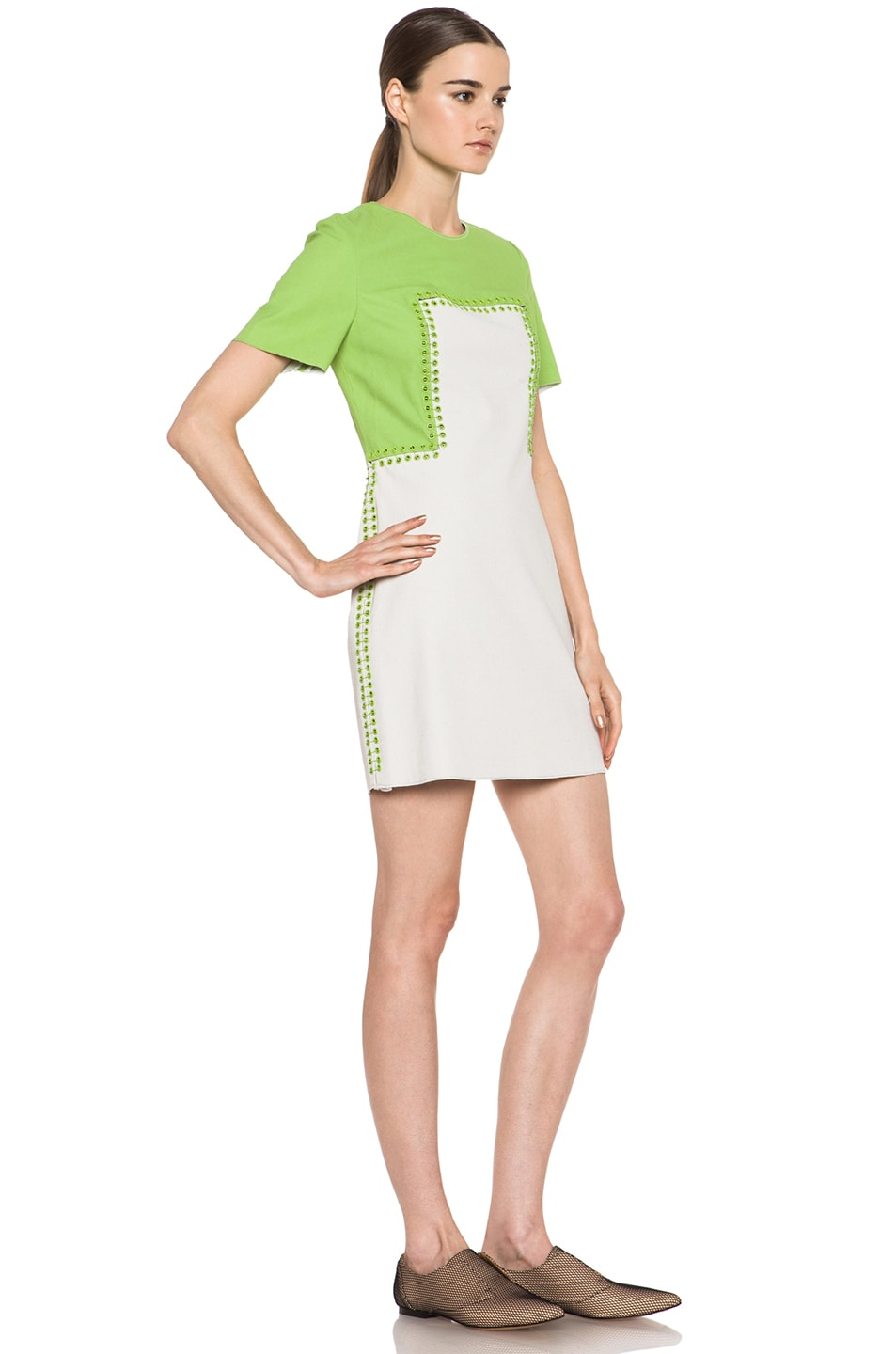 Image 3 of 3.1 phillip lim Shift Dress with Pin and Eyelet Embellishment in Avocado & Canvas