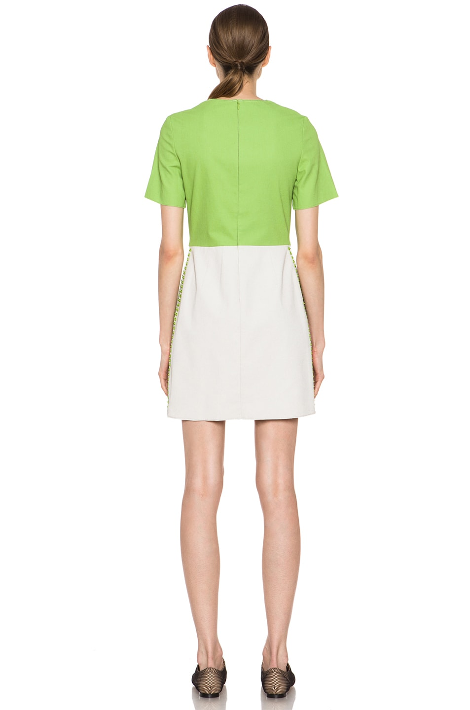 Image 4 of 3.1 phillip lim Shift Dress with Pin and Eyelet Embellishment in Avocado & Canvas