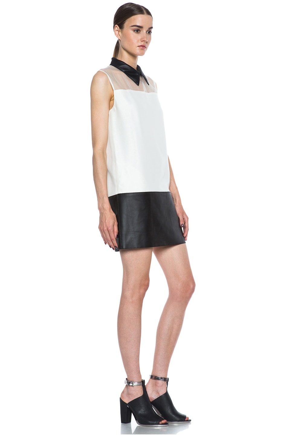Image 3 of 3.1 phillip lim Tuxedo Viscose Shift Dress in Alabaster & Black