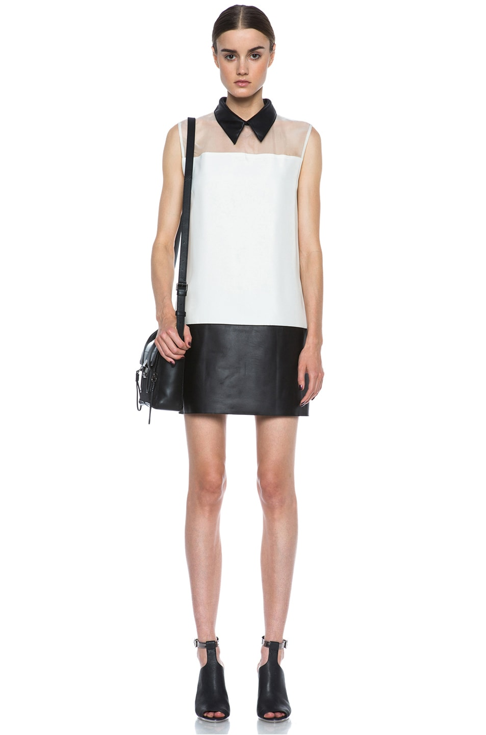Image 5 of 3.1 phillip lim Tuxedo Viscose Shift Dress in Alabaster & Black