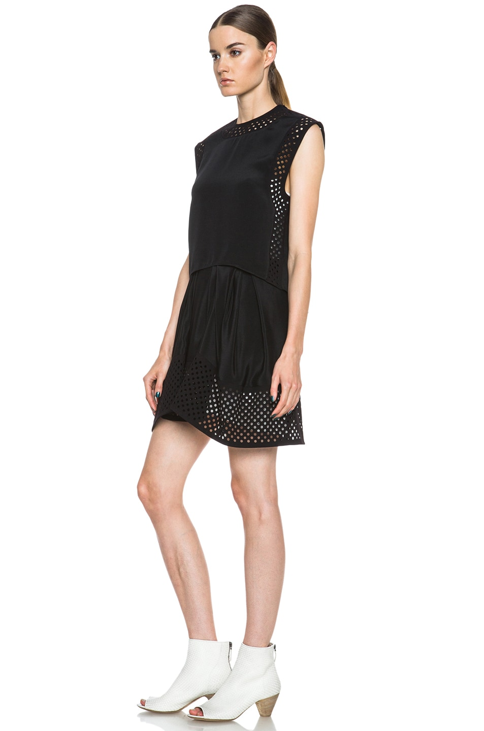 Image 2 of 3.1 phillip lim Laser Cut Silk Dress in Black