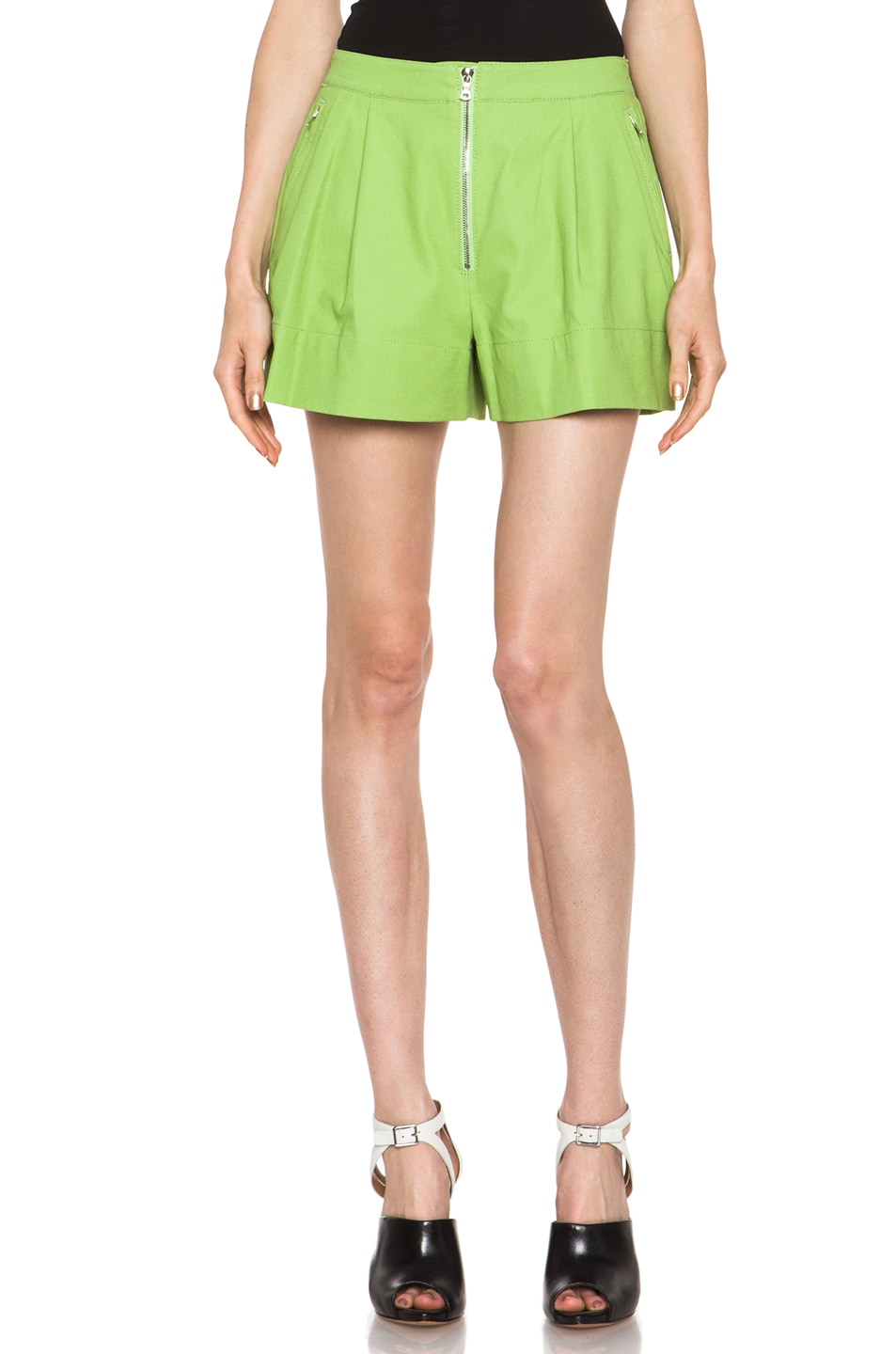 Image 1 of 3.1 phillip lim Bloomer Linen-Blend Short in Avocado Sld