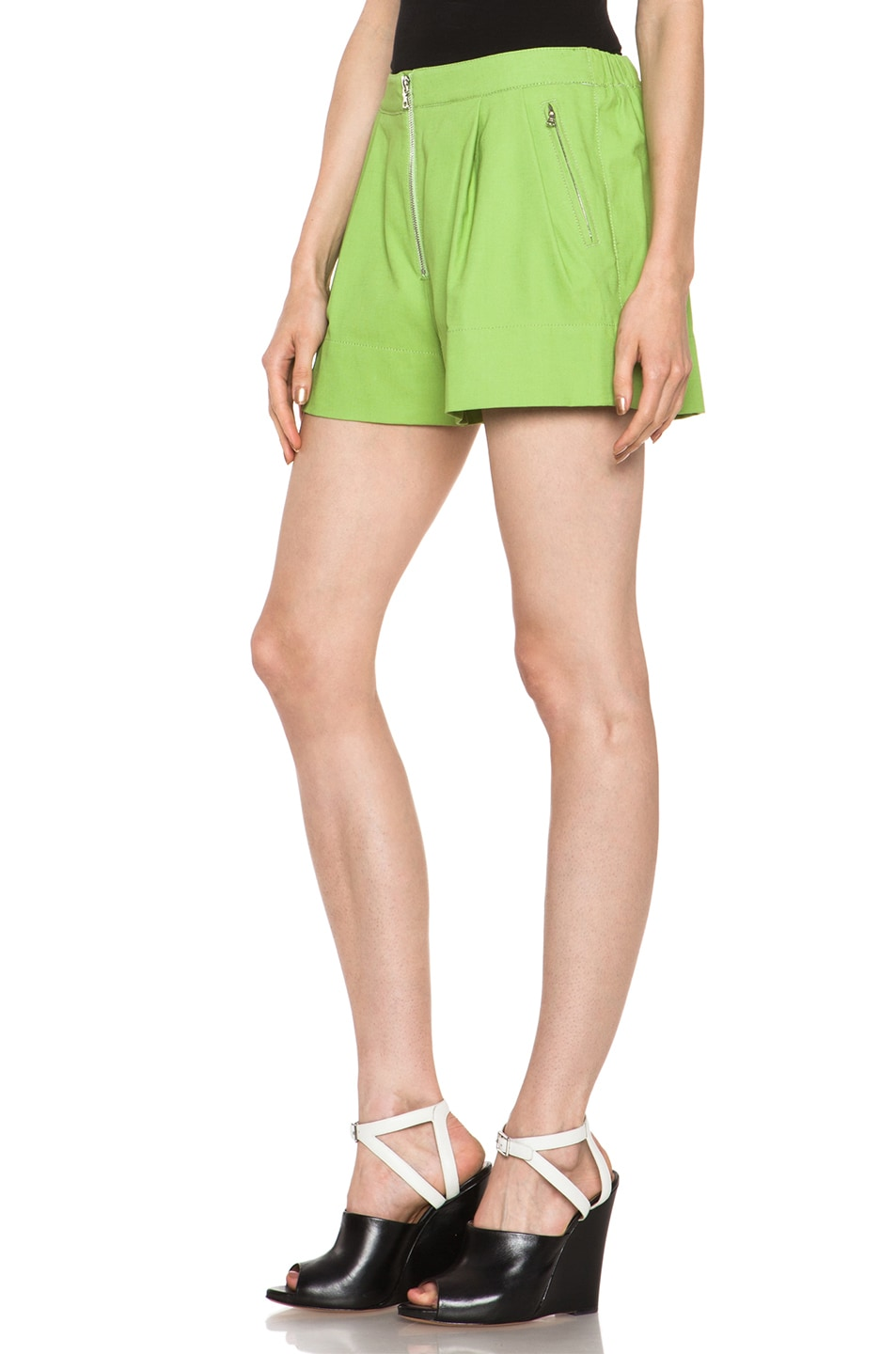Image 2 of 3.1 phillip lim Bloomer Linen-Blend Short in Avocado Sld