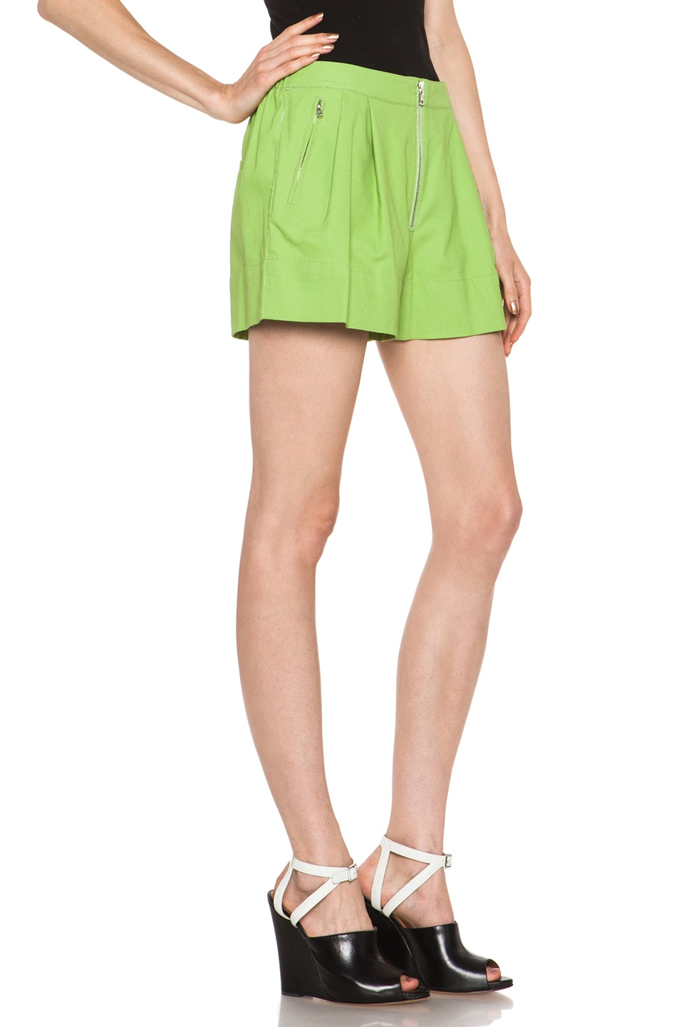 Image 3 of 3.1 phillip lim Bloomer Linen-Blend Short in Avocado Sld