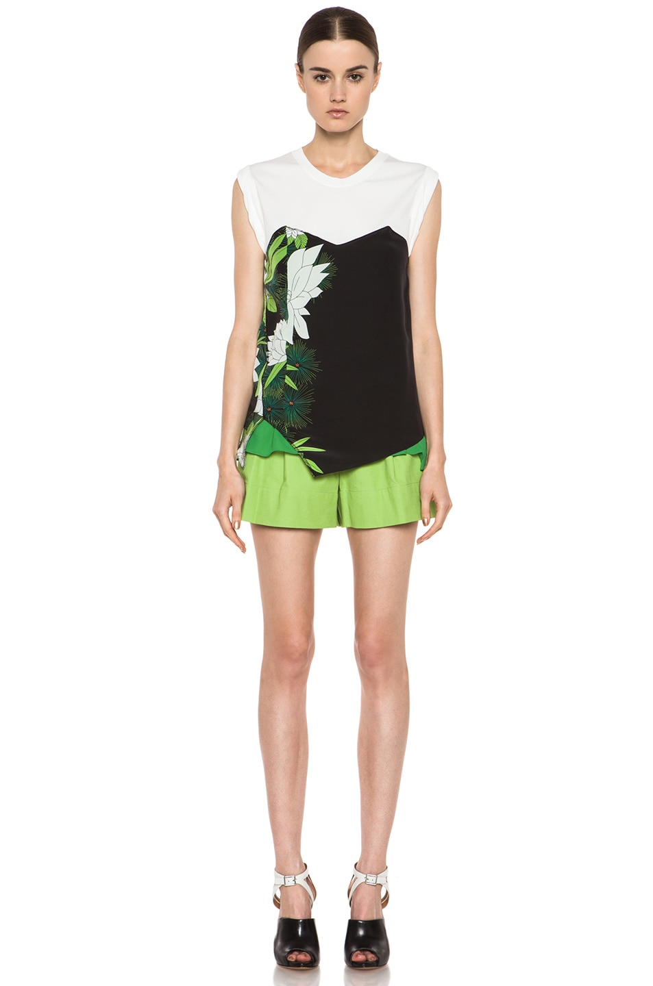Image 5 of 3.1 phillip lim Bloomer Linen-Blend Short in Avocado Sld