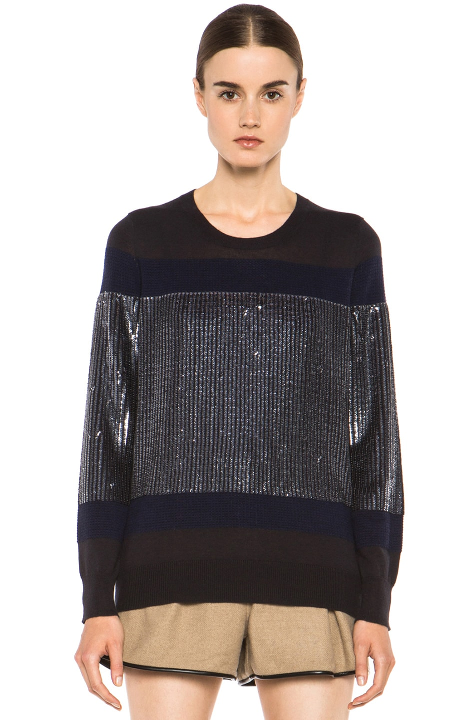Image 1 of 3.1 phillip lim Sequin Stripe Merino Wool Pullover in Charcoal