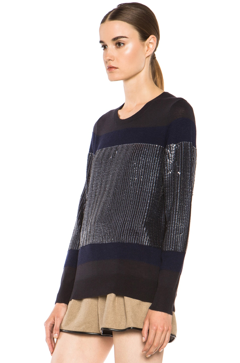 Image 2 of 3.1 phillip lim Sequin Stripe Merino Wool Pullover in Charcoal