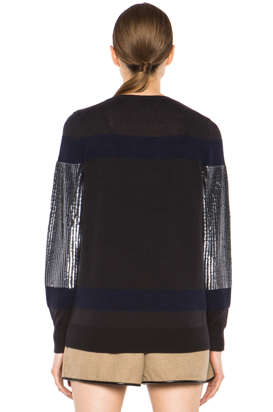 Image 4 of 3.1 phillip lim Sequin Stripe Merino Wool Pullover in Charcoal