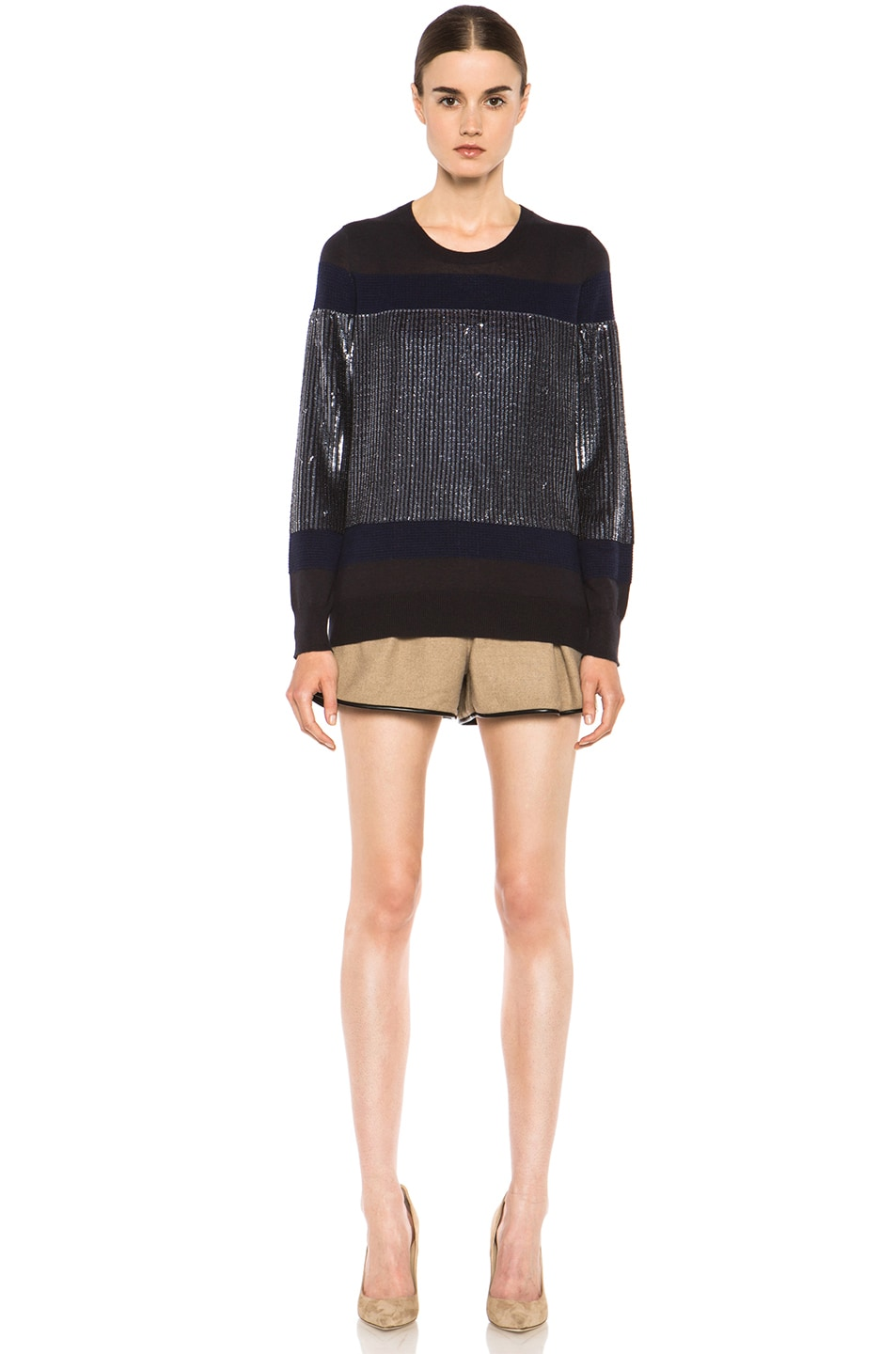 Image 5 of 3.1 phillip lim Sequin Stripe Merino Wool Pullover in Charcoal
