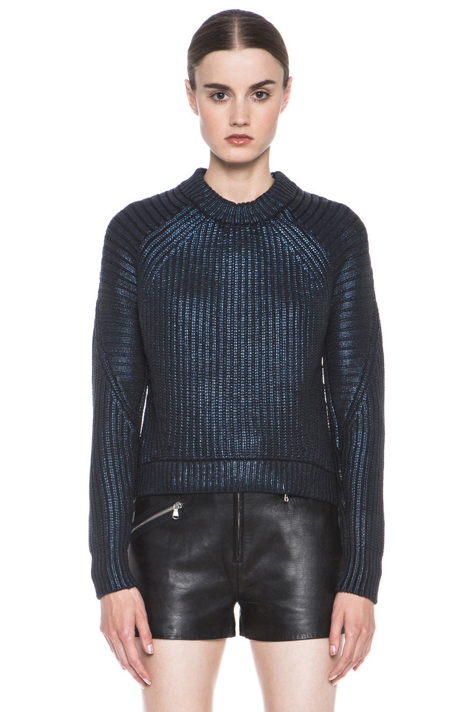 Image 1 of 3.1 phillip lim Metallic Printed Mixed Stitch Detail Knit Pullover in Sapphire
