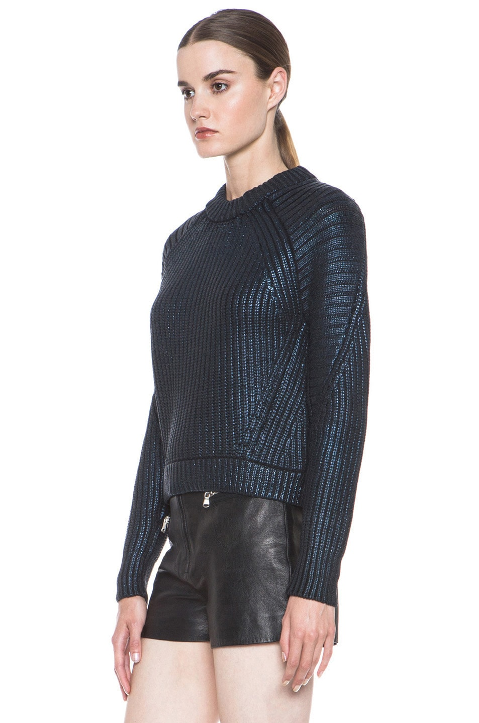 Image 2 of 3.1 phillip lim Metallic Printed Mixed Stitch Detail Knit Pullover in Sapphire