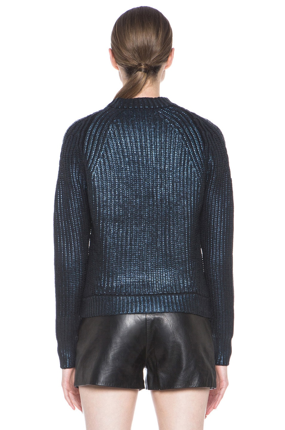 Image 4 of 3.1 phillip lim Metallic Printed Mixed Stitch Detail Knit Pullover in Sapphire