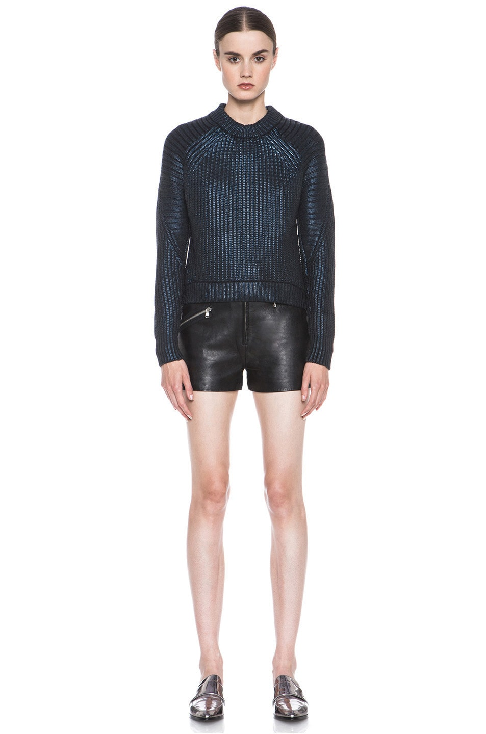 Image 5 of 3.1 phillip lim Metallic Printed Mixed Stitch Detail Knit Pullover in Sapphire