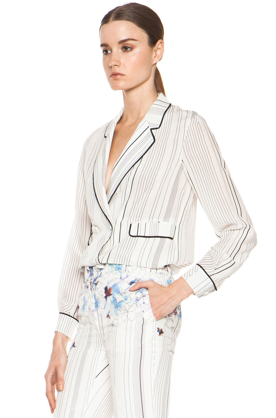 Image 2 of 3.1 phillip lim Piping Pajama Jacket in Antique White