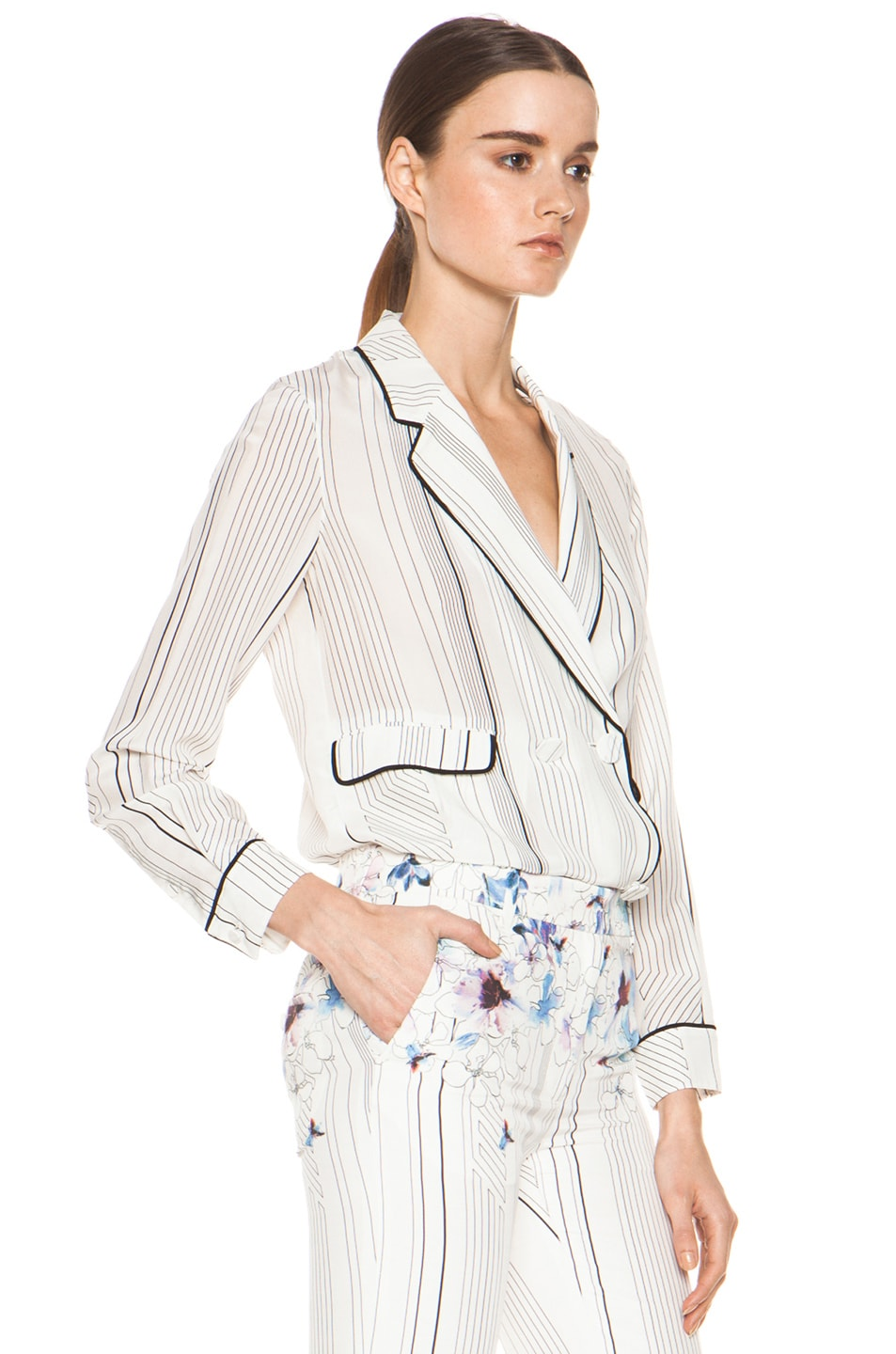 Image 3 of 3.1 phillip lim Piping Pajama Jacket in Antique White