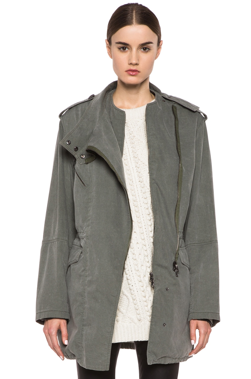 Image 1 of 3.1 phillip lim Trompl'eoil Cotton Layered Parka in Army Green