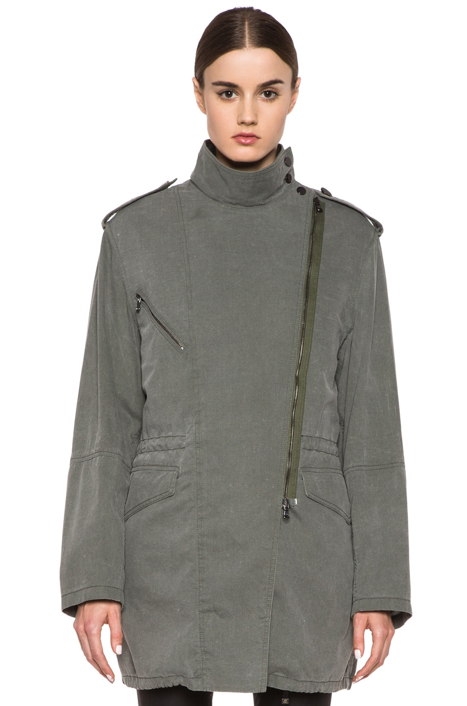 Image 2 of 3.1 phillip lim Trompl'eoil Cotton Layered Parka in Army Green