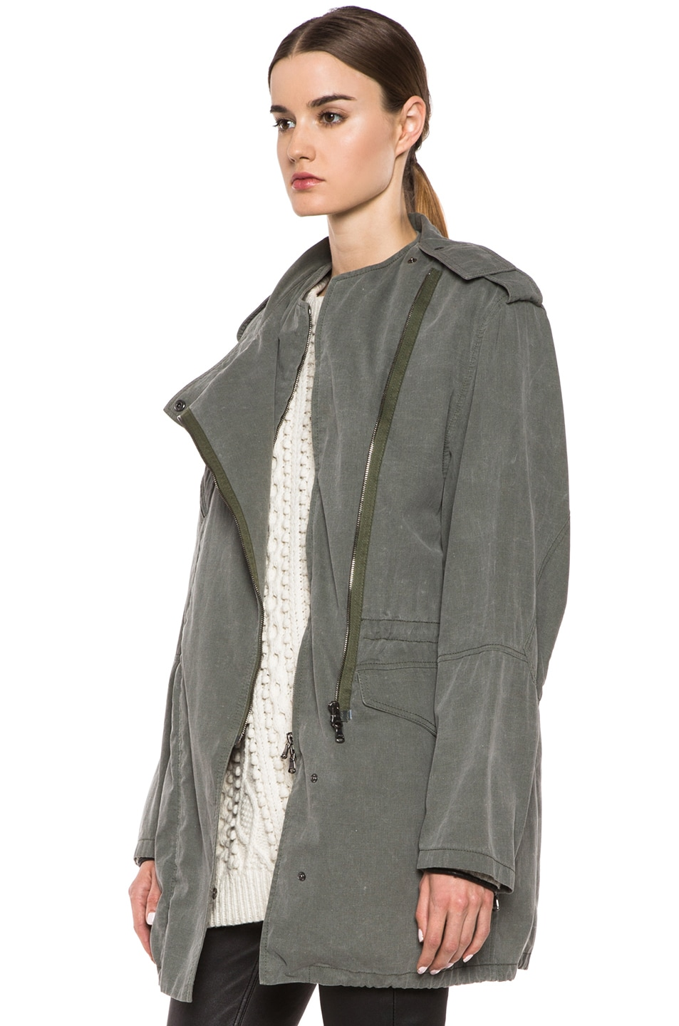 Image 3 of 3.1 phillip lim Trompl'eoil Cotton Layered Parka in Army Green