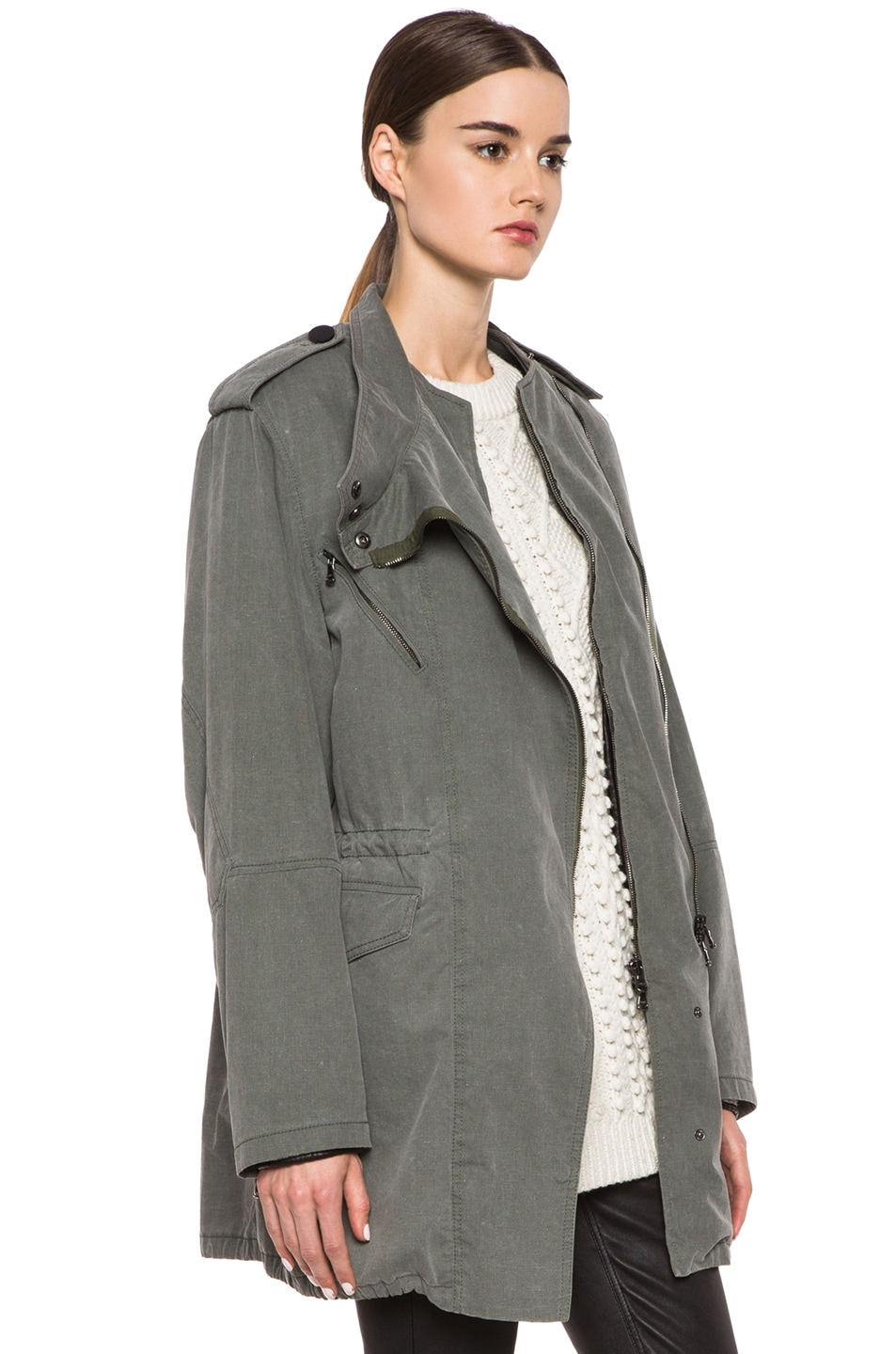Image 4 of 3.1 phillip lim Trompl'eoil Cotton Layered Parka in Army Green