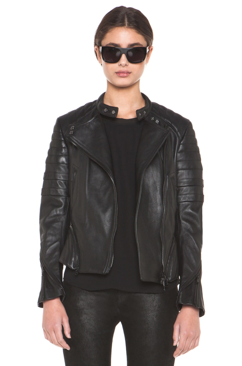 Image 1 of 3.1 phillip lim Peplum Quilted Leather Motorcycle Jacket in Black