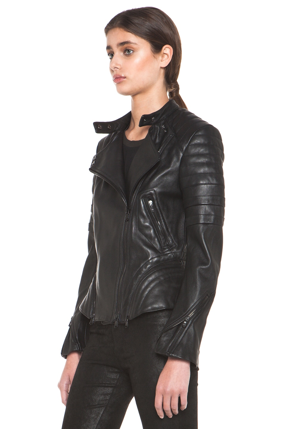 Image 2 of 3.1 phillip lim Peplum Quilted Leather Motorcycle Jacket in Black