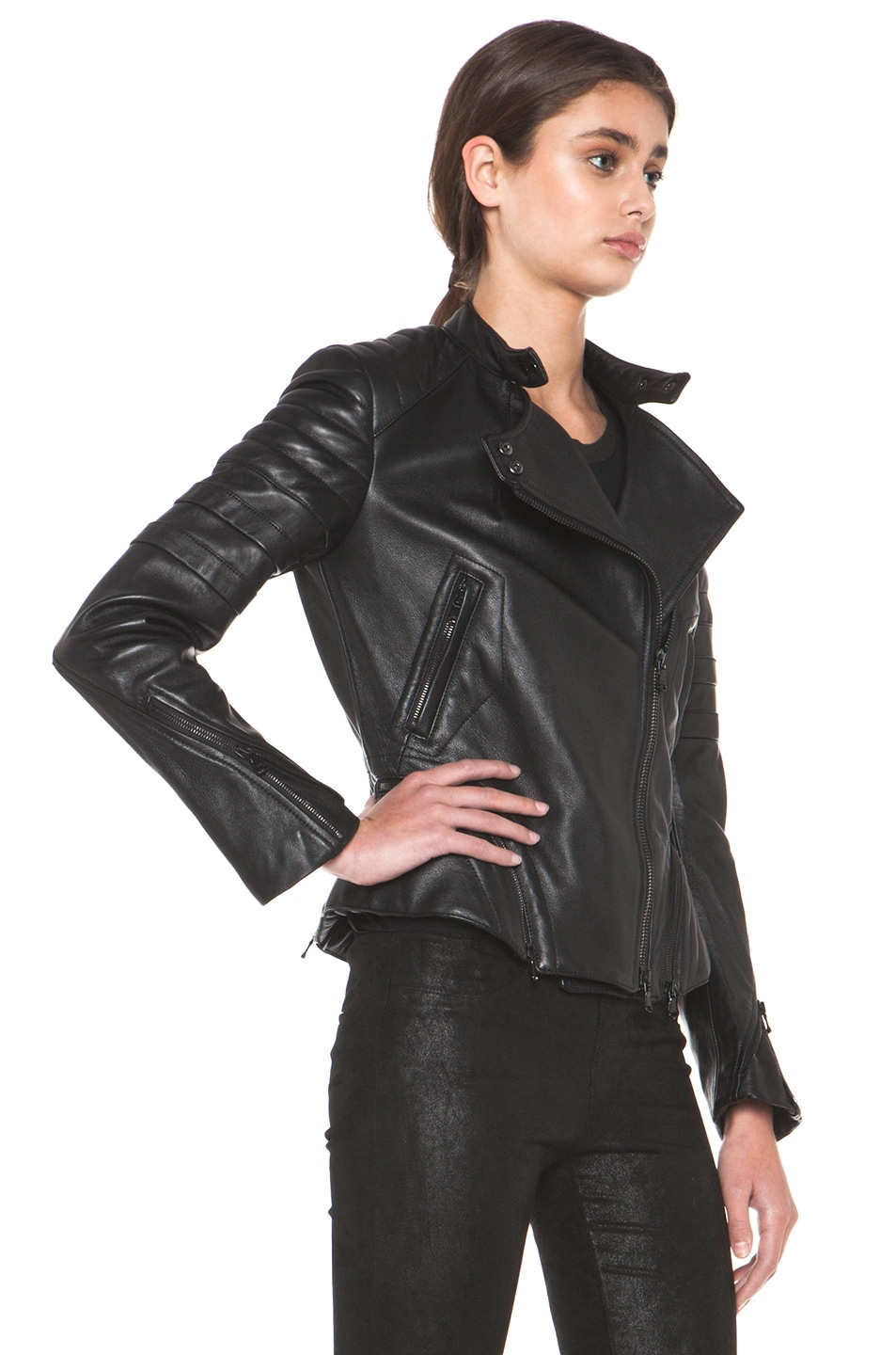 Image 3 of 3.1 phillip lim Peplum Quilted Leather Motorcycle Jacket in Black