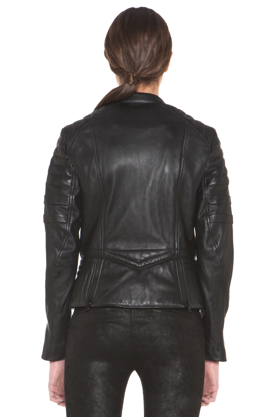 Image 4 of 3.1 phillip lim Peplum Quilted Leather Motorcycle Jacket in Black